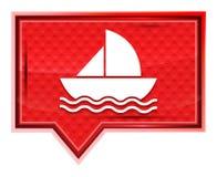 El icono del velero brumoso subió botón rosado de la bandera ilustración del vector