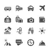 El icono del viaje y de las vacaciones fijó 5, vector eps10 Imagen de archivo