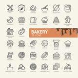 El icono del web de la tienda de la panadería fijó - el sistema del icono del esquema libre illustration
