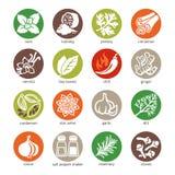 El icono del web fijó - las especias, los condimentos y las hierbas stock de ilustración