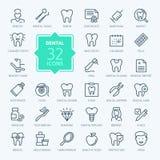 El icono dental del web fijó - el sistema del icono del esquema ilustración del vector
