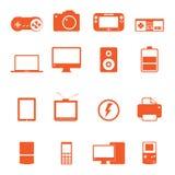 El icono electrónico del dispositivo de la tecnología completo recoge Fotografía de archivo
