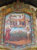 El icono en la catedral de la albahaca del santo en cuadrado rojo en Moscú Fotos de archivo