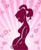 El icono es ilustración de la mujer embarazada stock de ilustración