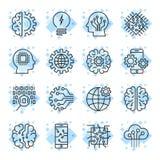 El icono fijó para símbolos del concepto del ai de la inteligencia artificial los diversos Fotografía de archivo libre de regalías