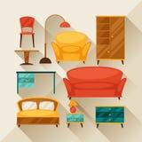 El icono interior fijó con muebles en estilo retro Fotos de archivo