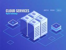 El icono isométrico del centro de información, alambres conecta los objetos técnicos, de intercambio de datos, servidor, azul del ilustración del vector