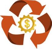 El icono/la insignia de recicla con el dinero Imagenes de archivo
