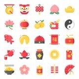 El icono lindo plano chino del Año Nuevo, px 128 en sistema de rejilla fijó el 1/2 stock de ilustración