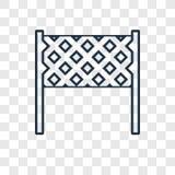El icono linear del vector neto del concepto del voleibol aislado encendido transparen stock de ilustración