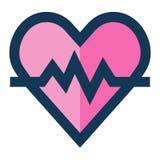 El icono médico del latido del corazón llenó la línea color rosado azul ilustración del vector