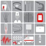 El icono médico en el estilo plano, fijó los iconos médicos, diseño plano, gris con rojo Foto de archivo libre de regalías