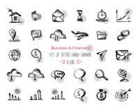 El icono a mano del web de las finanzas del bosquejo fijó - la economía, dinero, pagos Con énfasis en forma redonda de los puntos Imagenes de archivo