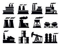 Icono de la fábrica del edificio Fotos de archivo libres de regalías