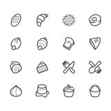 El icono negro de las herramientas de la panadería fijó en el fondo blanco Fotografía de archivo