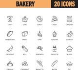 El icono o el logotipo plano de la panadería fijó para el diseño web stock de ilustración