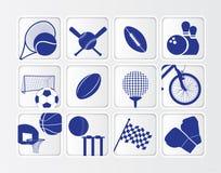 El icono plano isométrico de la bola de los deportes fijó en el fondo blanco Fotos de archivo