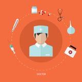 El icono plano médico fijó con el doctor, diseño del vector Fotos de archivo