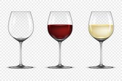 El icono realista de la copa del vector fijó - vacie, con el vino blanco y rojo, aislado en fondo transparente Diseño libre illustration