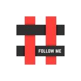 El icono rojo y negro del hashtag con me sigue texto Imagenes de archivo