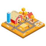 El icono rural Real Estate de Autumn Isometric 3d Lowpoly de la estación de la construcción de viviendas de la granja de la agric ilustración del vector