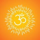 El icono y el resplandor solar del vector del símbolo de OM les gustan los rayos que emergen del aum Imagenes de archivo