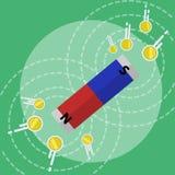 El imán de barra con los campos magnéticos que atraen el dinero acuña el ejemplo plano del vector del estilo libre illustration
