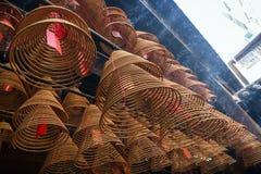 El incienso arrolla en el hombre Mo Temple en Tai Po, Hong Kong fotos de archivo libres de regalías