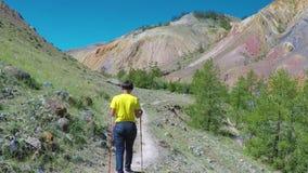 El inclinarse que camina turístico de la mujer en emigrar polos Visiónes desde una altura del valle con las montañas anaranjadas  almacen de video