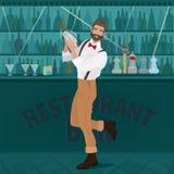 El inconformista del camarero de la diversión sacude la coctelera Imagenes de archivo