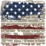 El indicador americano contra una pared de ladrillo. stock de ilustración
