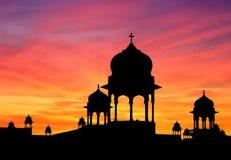 El indio cubre con una cúpula puesta del sol Foto de archivo libre de regalías