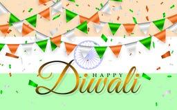 El indio feliz de Diwali señala la guirnalda por medio de una bandera Bandera de la India y guirnaldas de banderas y del confeti  stock de ilustración