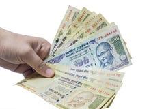 El indio prohibió la moneda de la rupia 100, 500 Imagen de archivo libre de regalías