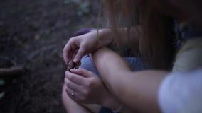 El individuo abraza a la muchacha en el primer del bosque de las manos de una muchacha, ella está sosteniendo un cono almacen de video
