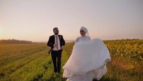 El individuo alcanza su novia y corren juntos a lo largo de un campo imponente de girasoles Marco maravilloso y hermoso almacen de metraje de vídeo