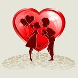 El individuo con la muchacha en un fondo de corazones rojos Fotos de archivo libres de regalías
