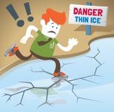 El individuo corporativo retro está patinando en el hielo fino. Fotografía de archivo