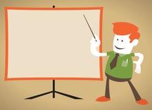 El individuo corporativo retro señala a una carta en blanco. Foto de archivo