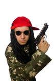 El individuo divertido con el arma aislado en blanco Imagen de archivo libre de regalías