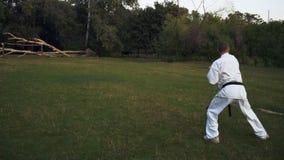 El individuo en el kimono blanco dedica intensivo karate temprano a la mañana en parque de la ciudad almacen de video