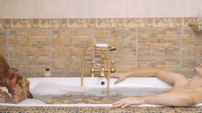 El individuo joven en el sombrero de santa se relaja en baño caliente y su perro bebe el agua de un baño almacen de metraje de vídeo