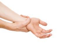 El individuo, mi brazo está lastimando, muñeca Imagen de archivo libre de regalías