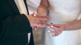 El individuo pone el anillo en el finger de su novia almacen de metraje de vídeo