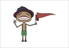 El individuo sonriente con una pequeña bandera en la mano izquierda Fotografía de archivo libre de regalías