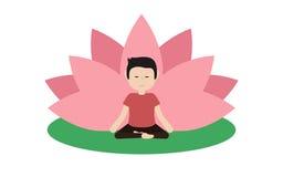 El individuo tranquilo está haciendo yoga y se está sentando en la posición de loto Fotografía de archivo libre de regalías