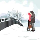 El individuo y el beso de la muchacha en un paseo en el invierno vector el ejemplo EPS 10 foto de archivo