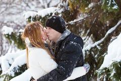 El individuo y la muchacha disfrutan de la caminata del invierno Fotografía de archivo libre de regalías