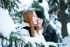 El individuo y la muchacha disfrutan de la caminata del invierno Foto de archivo