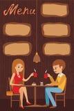 El individuo y la muchacha se están sentando en un café Vector el ejemplo del menú de la plantilla, del folleto, del café de los  Fotografía de archivo